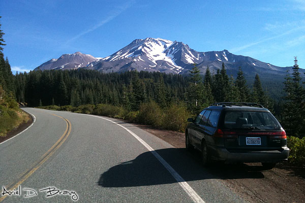 Driving towards Mt. Shasta