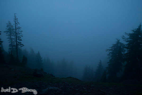 Looking down into the Crater Lake from the foggy rim before sunrise