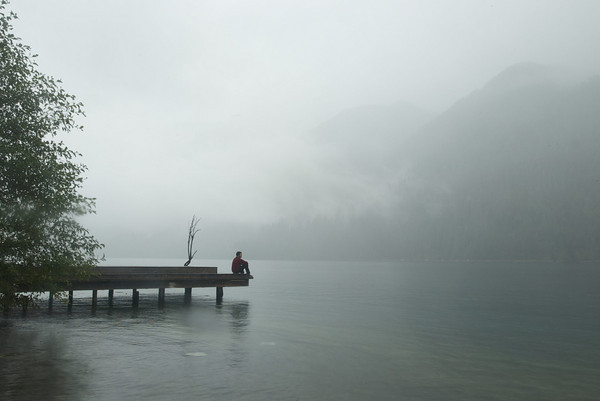 Ariel sitting on the dock in the fog
