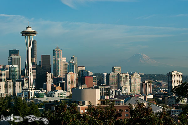 Seattle and Mt. Rainier glistening under sweet afternoon light from Kerry Park