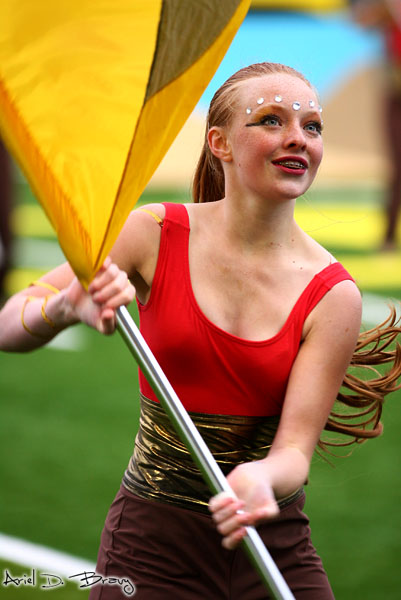 A member of the color guard performs