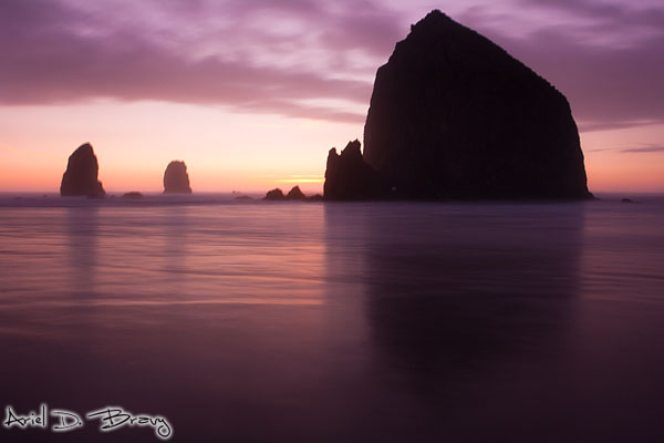 Long exposure of Haystack Rock