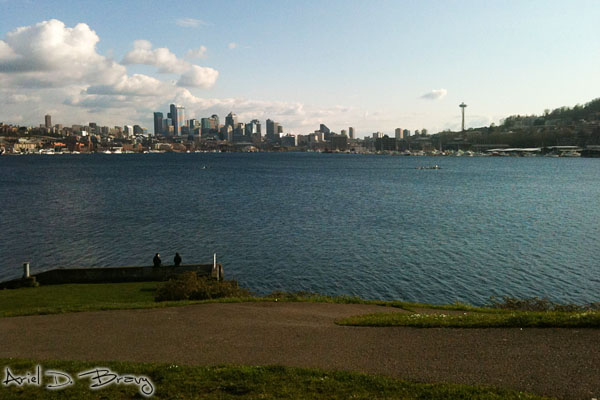 Looking across Lake Union to downtown Seattle from Gasworks