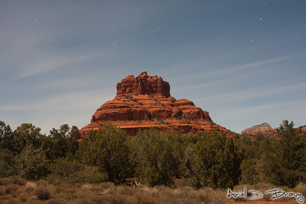 Bell Rock under the moonlight from the parking lot