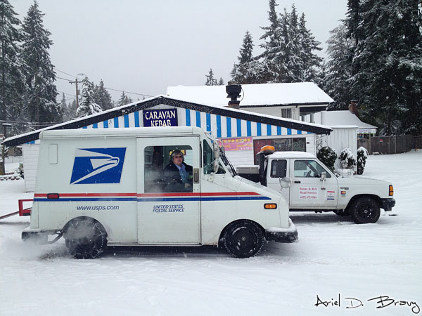 Mail truck after getting her chains fixed