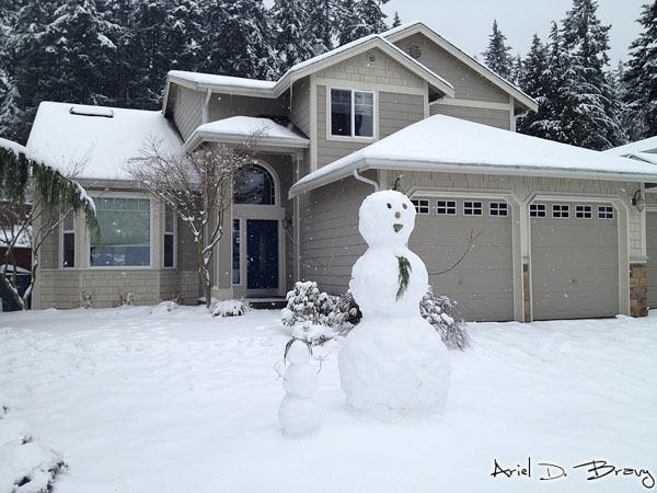 Snowman with a tie and with hair