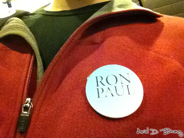 Adorning myself with Ron Paul paraphernalia
