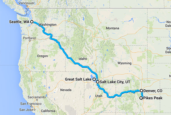 Road trip map from WA to CO