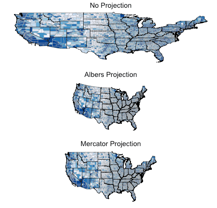 Administrative Maps And Projections In R AriLamsteincom - Us map different projections