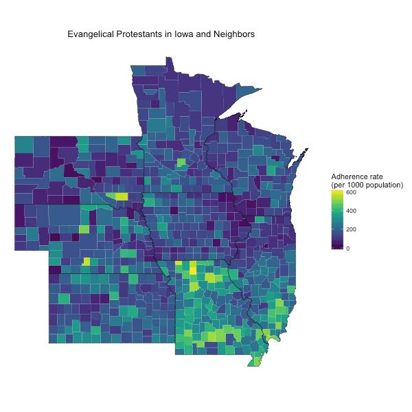 Evangelicals in Iowa and Its Neighbors