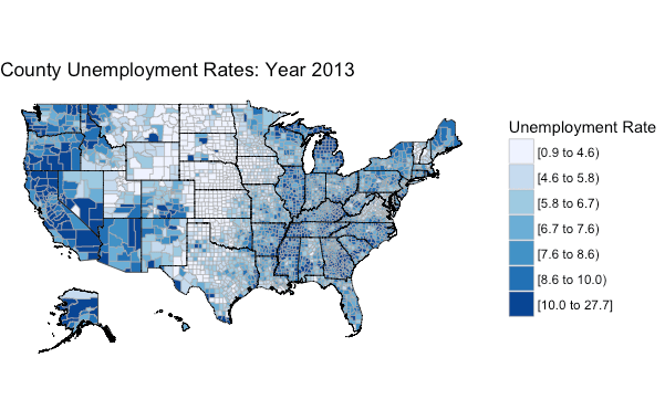 Mapping US County Unemployment Data AriLamsteincom - Us unemployment rate map
