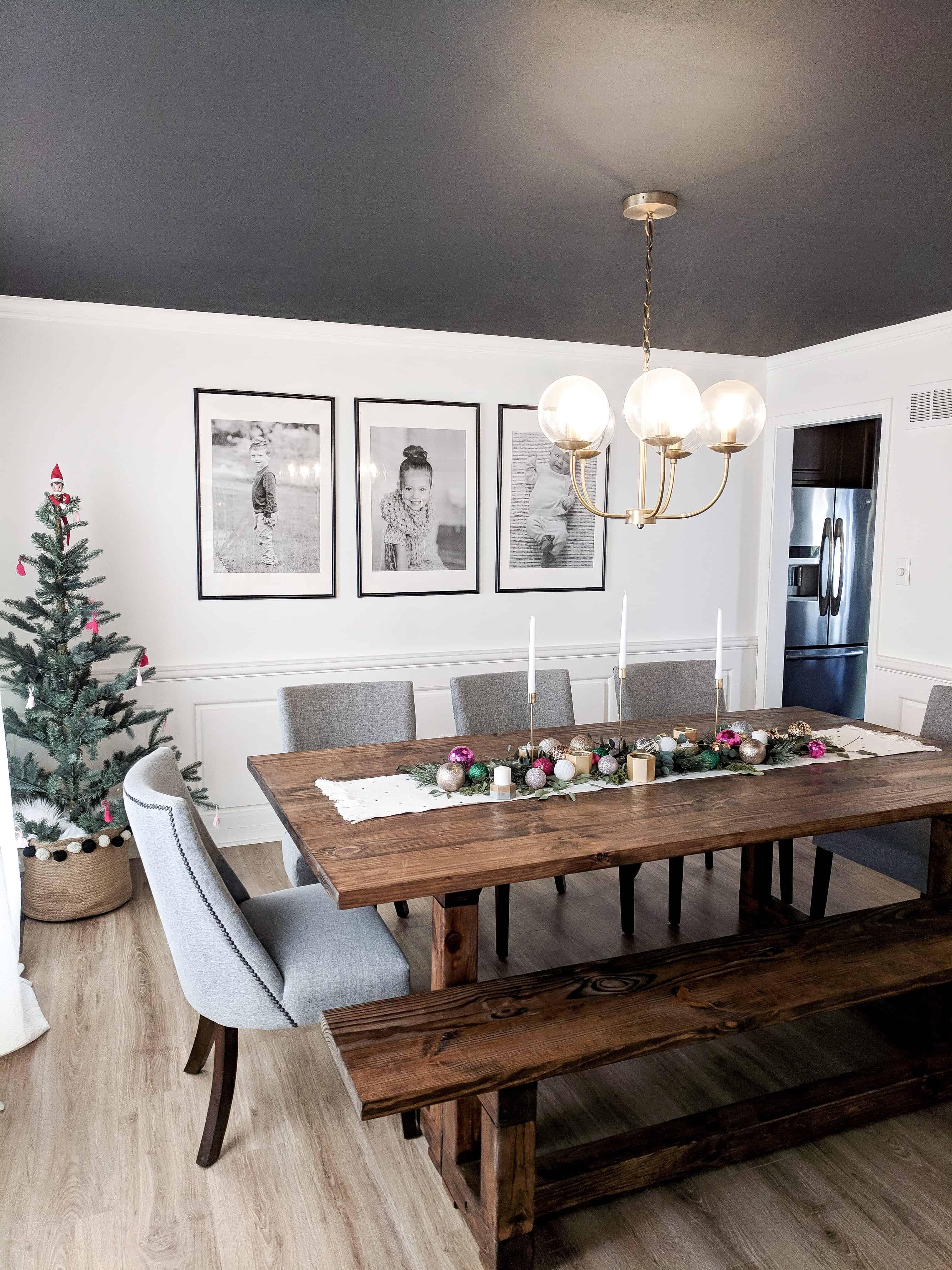 Pink Christmas Dining Room Decor