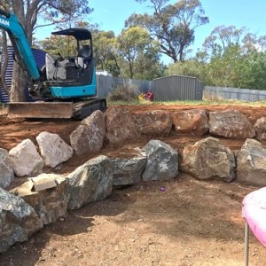 Backyard Rock Retaining Wall Angaston