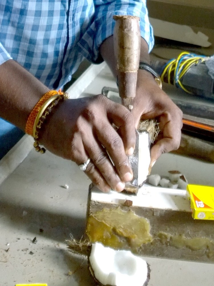 Have you ever seen coconut being cut with a chisel?