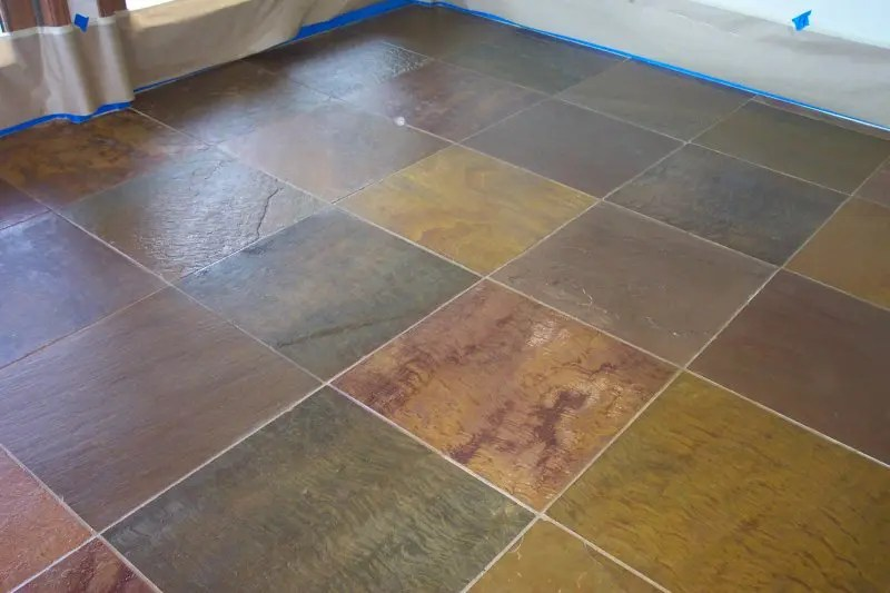 slate tile after cleaning and sealing