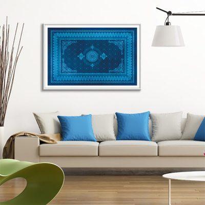 Poster oriental tapis motif bleu