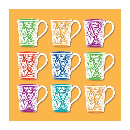 Poster oriental-mug carré-jaune
