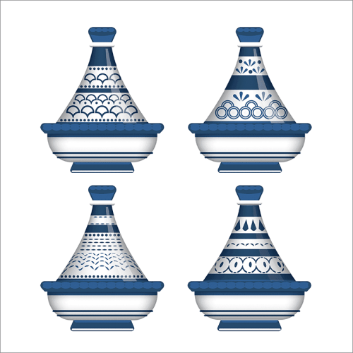 Tableau arabe-tajine déco-bleu