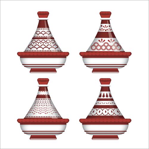 Tableau arabe-tajine déco-rouge