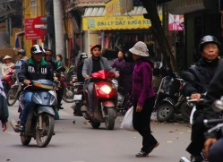 Hanoi - street scene, crossing the road; just walk and hope for the best...