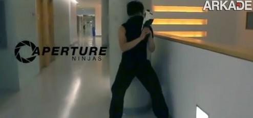 Como seria uma luta entre ninjas equipados com Portal-Guns?