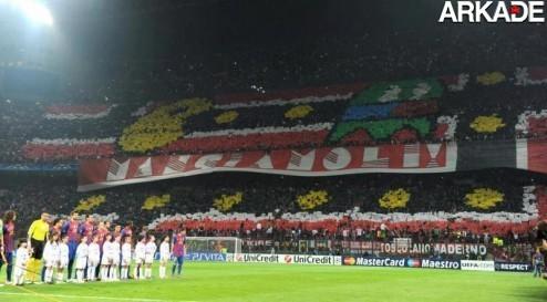 Torcendo like a boss: torcida do Milan cria belo mosaico de Pac-Man!
