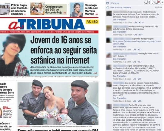 Tribuna Arkade: Jornal brasileiro causa polêmica ao associar RPG com rituais macabros