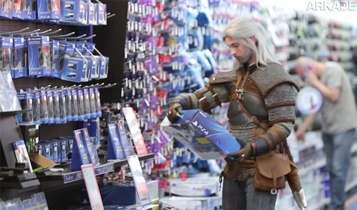 Câmera Escondida na Polônia mostra Geralt comprando seu próprio The Witcher 3 na loja
