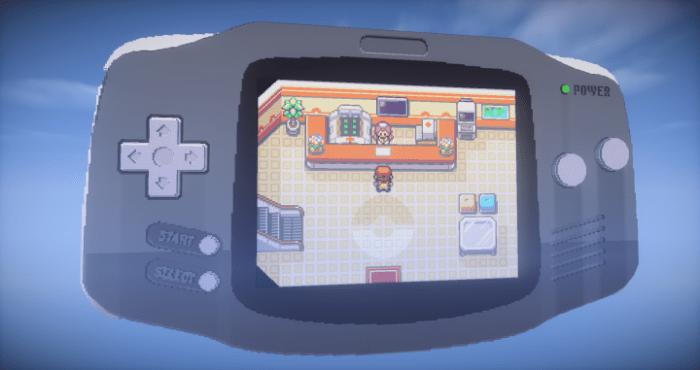 Um cara criou um Gameboy Advance gigante rodando Pokémon FireRed dentro de Minecraft!