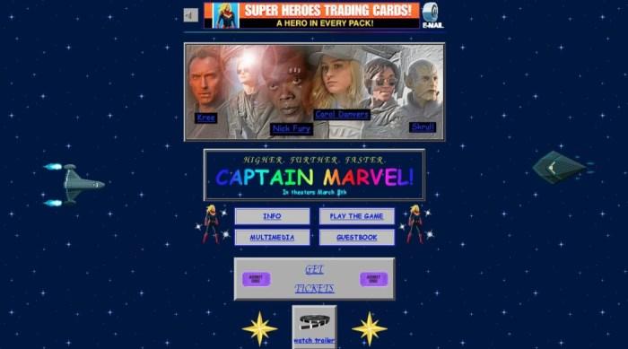 O site do filme da Capitã Marvel é uma legítima página web dos anos 90!