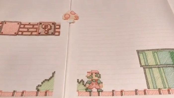 Este cara fez um nível inteiro de Super Mario Bros. em uma animação de caderno