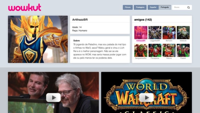 """Conheça o wowkut, a """"rede social"""" de World of Warcraft que presta tributo ao clássico Orkut"""