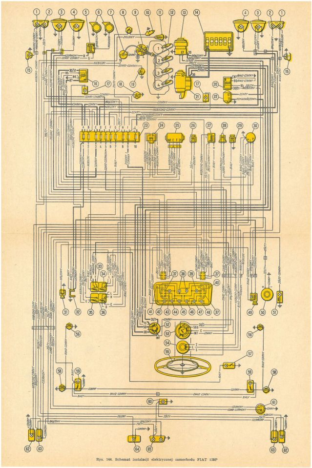 Schemat instalacji elektrycznej FIAT 125P