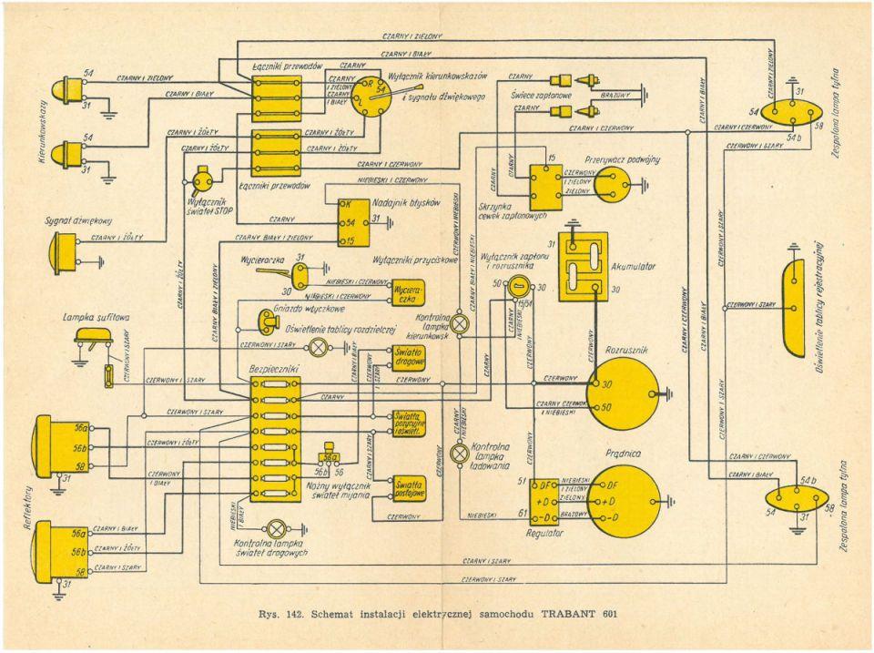 Schemat instalacji elektrycznej TRABANT 601