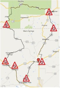 Locations with gasoline along the Rumble route.