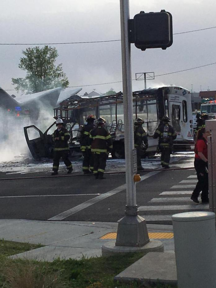 WATCH: Bus Catches Fire After Collision At Fort Smith Intersection
