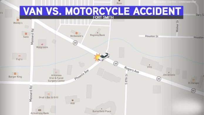 Motorcycle, Van Collide At Rogers And Phoenix Avenues In Fort Smith