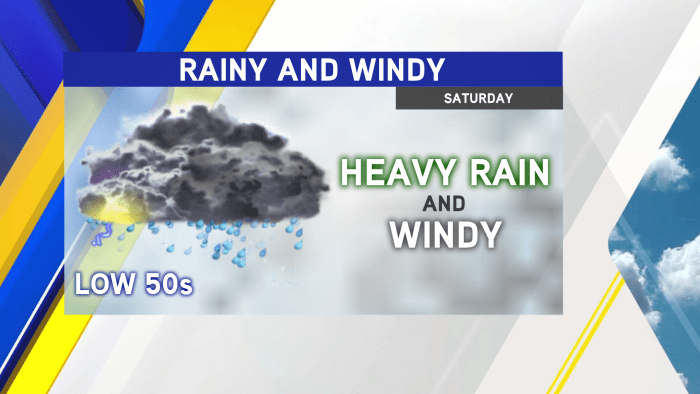 Saturday: Rainy, Windy, And Cool