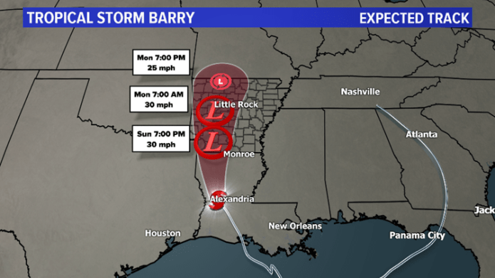 Expected track for Tropical Storm Barry 10 p.m. 07/13