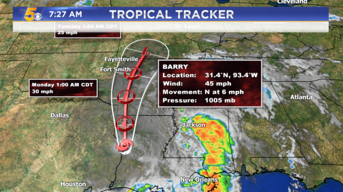 WATCH: Rain From Barry Moves In Today
