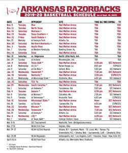 Razorbacks Release 2019-20 Basketball Schedule