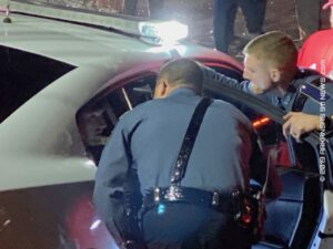 Alleged DWI Pursuit..Stolen Vehicle Crashes Into House..Suspect Jumps In Lake..Manhunt; Felony Arrest – HOT SPRINGS