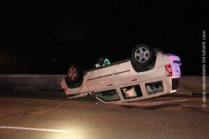 Rollover Crash On Bypass..Parked Truck Lands On Top Of Jersey Wall – HOT SPRINGS