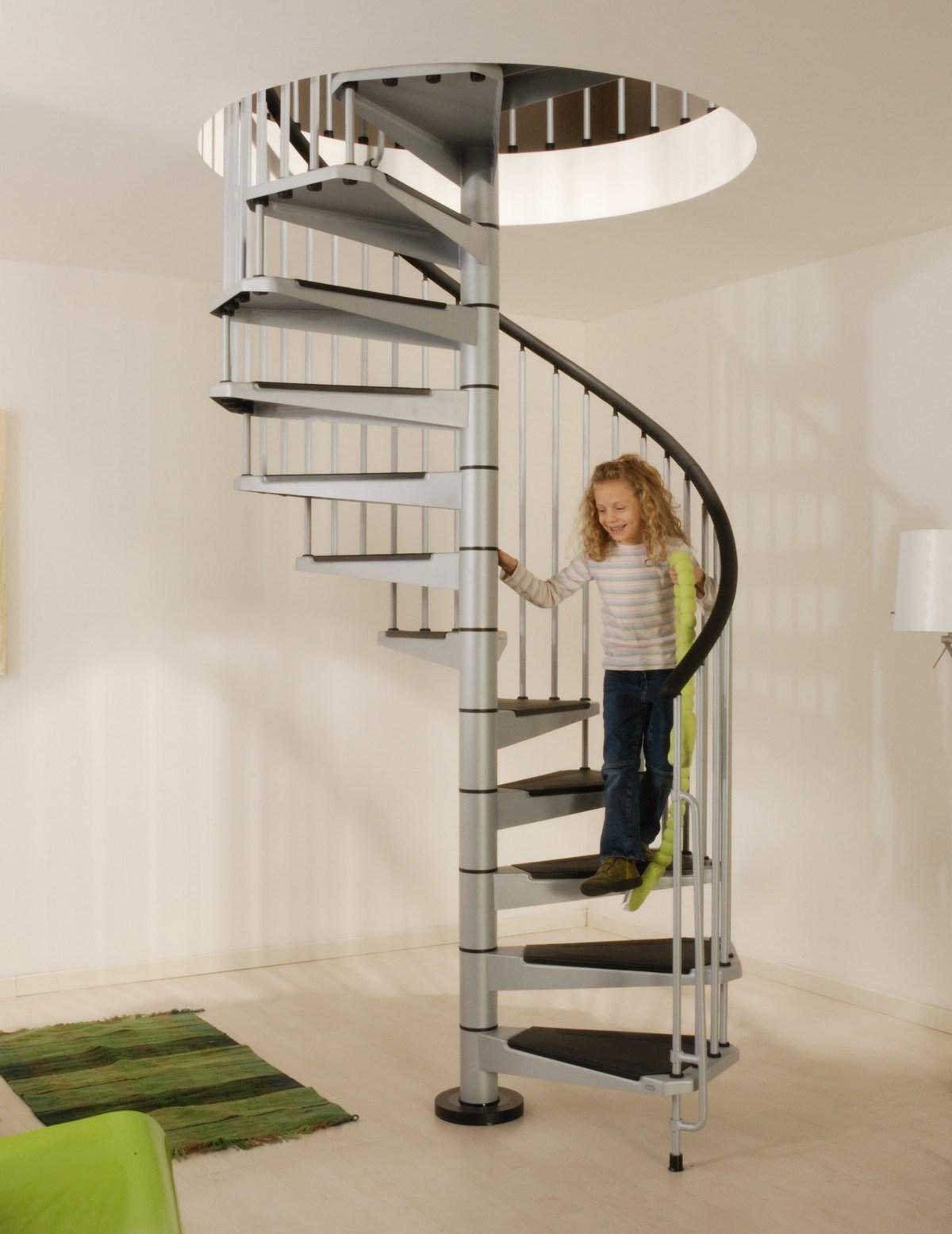 Civik Spiral Staircase Kit Metal Steel And Wood Spiral | 36 Inch Spiral Staircase | Stair Case | Steel | Steps | Tread Depth | Handrail