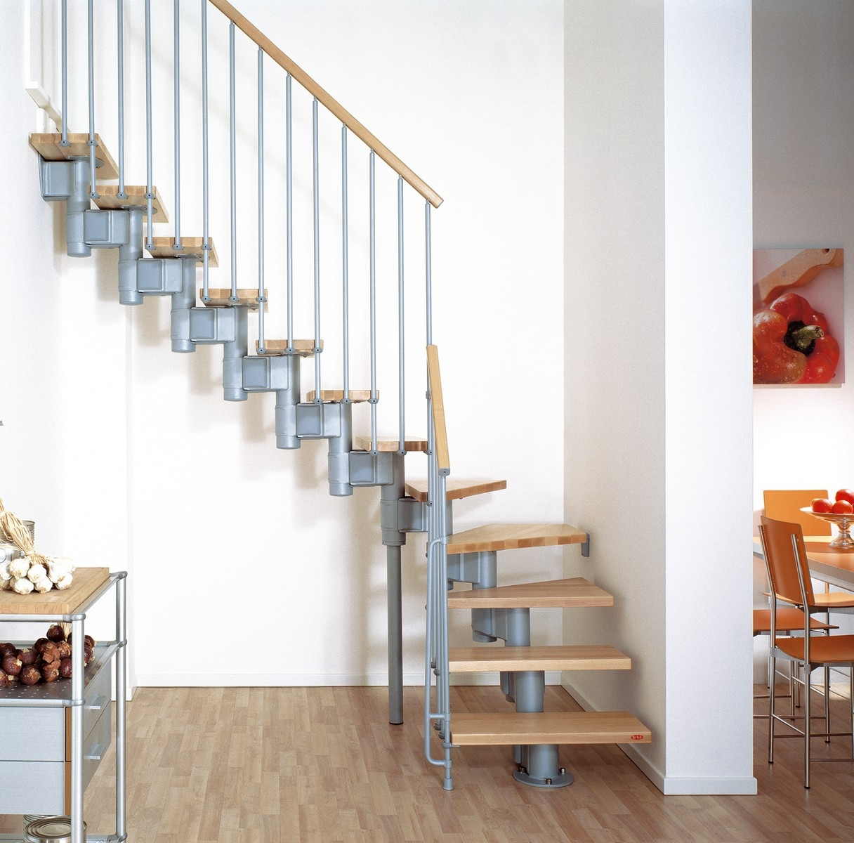 Kompact Adjustable Staircase Kit Metal Steel And Wood Spiral   5 Foot Spiral Staircase   Metal   Hayden Gray   Reroute Galvanized   Steel   Handrail