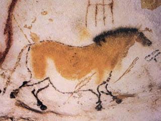 Dibujo de un caballo en la cueva Lascaux.