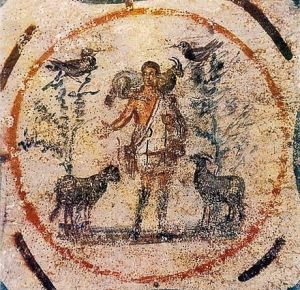 El buen pastor de la catacumba de Priscilla, 250-300