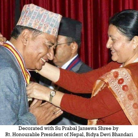 Decorated with Su Prabal Jansewa Shree by Rt.Honourable President of Nepal,Bidya Devi bhandari
