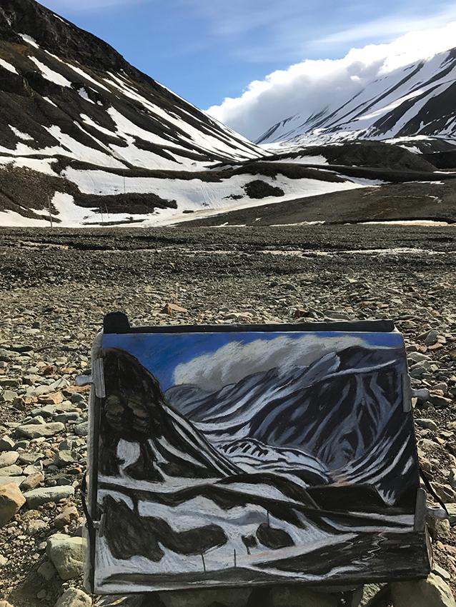 Schneeschmelze Nybien-Longyearbyen Arktis-Pastell(c)Kerstin Heymach