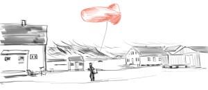 Das rote Schwein wandert durch Ny Alesund